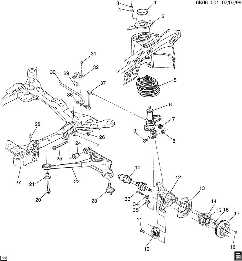 1998 Cadillac deville rear suspension