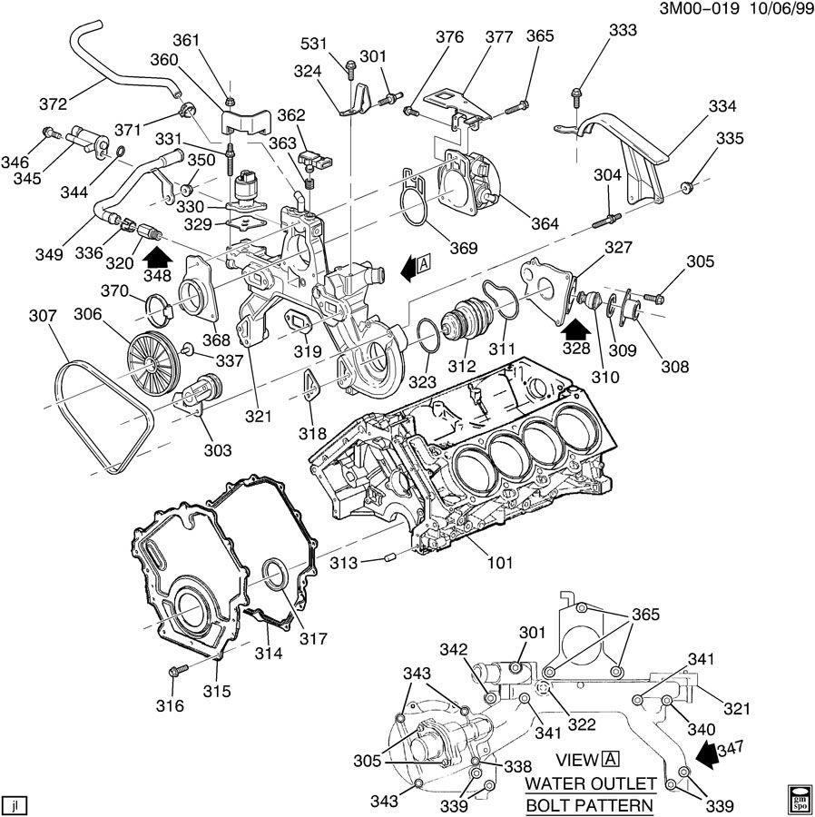 hight resolution of engine asm 4 0l v8 part 3 front cover amp cooling 3 4 sfi engine diagram