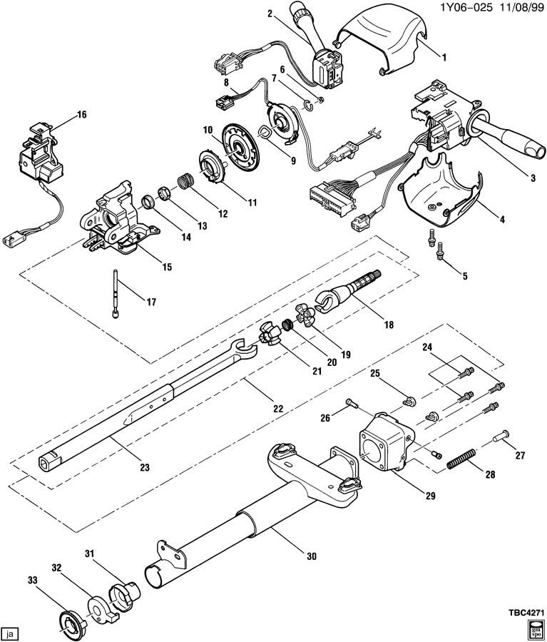Cadillac tilt telescopic steering column parts