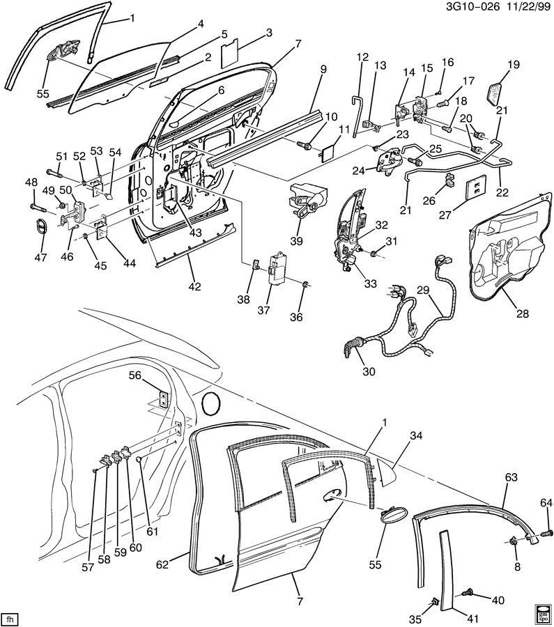 2002 Oldsmobile Aurora DOOR HARDWARE/REAR