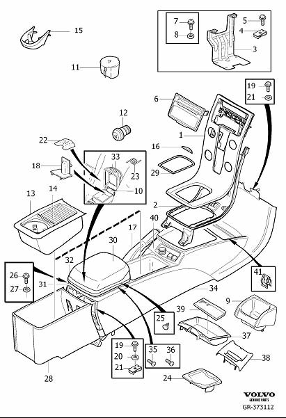 1999 Volvo C70 Cover. Transmission Tunnel Console