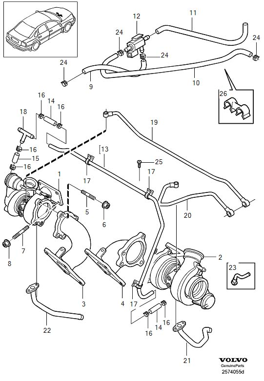 2000 Volvo S80 Nipple. Compressor Exhaust. Turbocharger