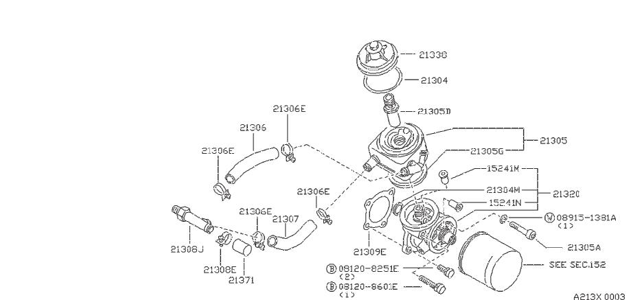 Nissan Sentra Engine Oil Filter Adapter Seal. System