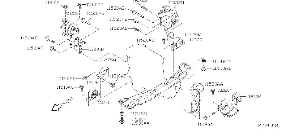 Nissan Sentra Insulator Engine Mounting. Replacement Motor