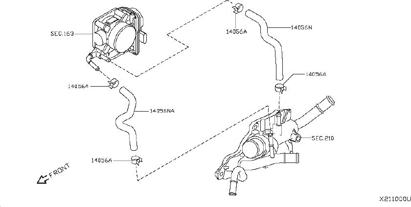 Nissan Sentra Engine Coolant Hose. PIPING, THR, CHAMBER
