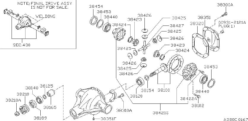 Nissan Frontier Differential Pinion Seal. CLUTCH, LSD, TCS