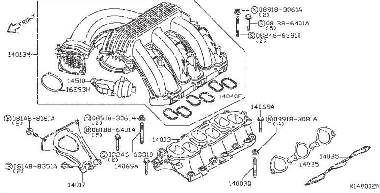 Nissan Frontier Engine Intake Manifold. EXHAUST, COVER