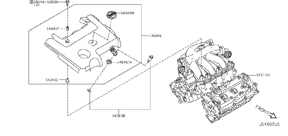 Nissan Quest Engine Intake Manifold. COVER, EXHAUST