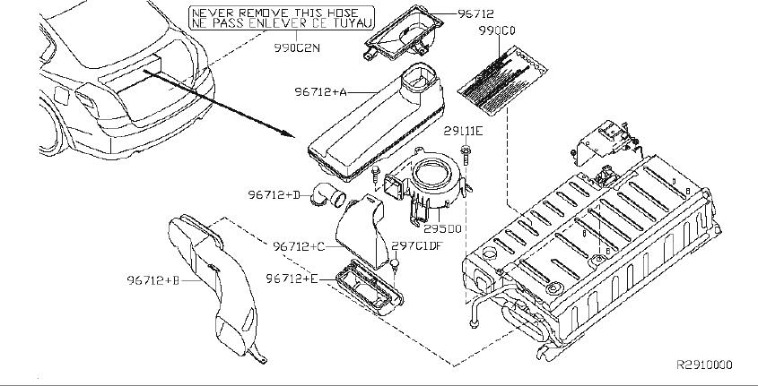 Nissan Altima Engine Decal. COMPONENTS, BATTERY, System