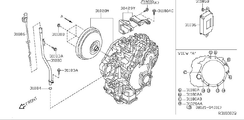 Nissan Altima Gusset Transmission TO Engine. FITTING