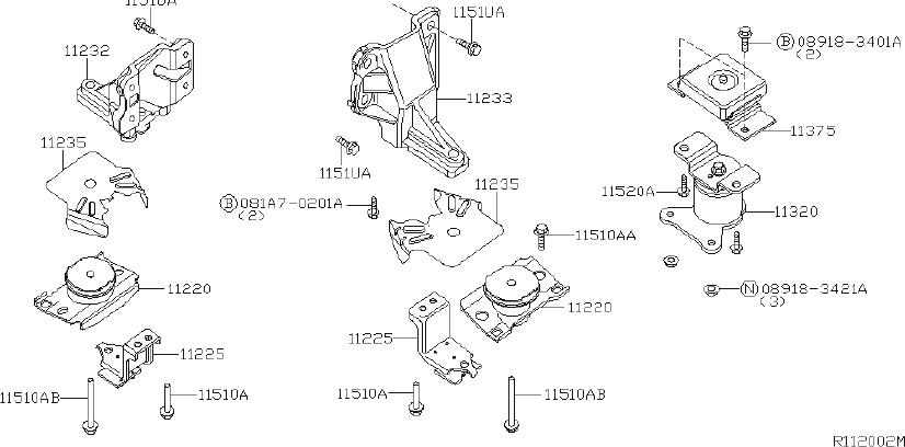 Nissan Xterra Stopper Engine Mounting. (Front). BED, LONG