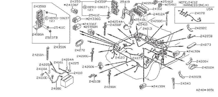 Nissan Frontier Clip Wiring Harness. ENGINE, ROOM, FITTING