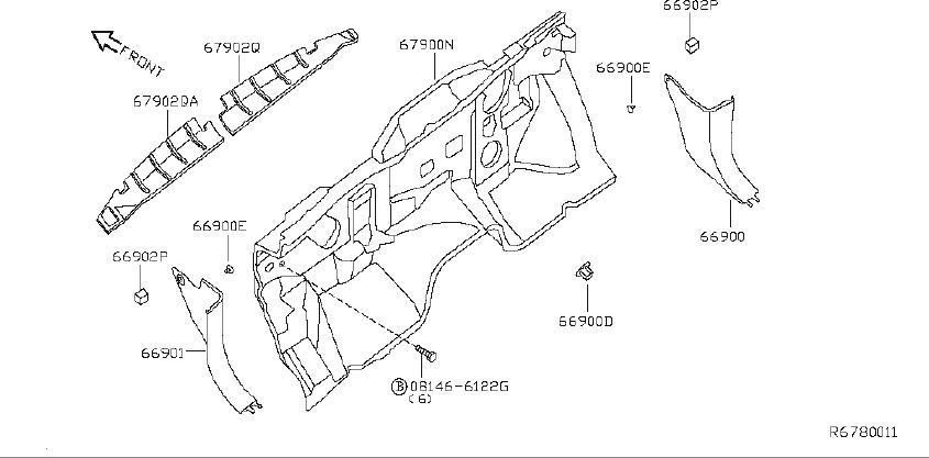 Nissan Titan Srs product insulator dash. (lower). Model