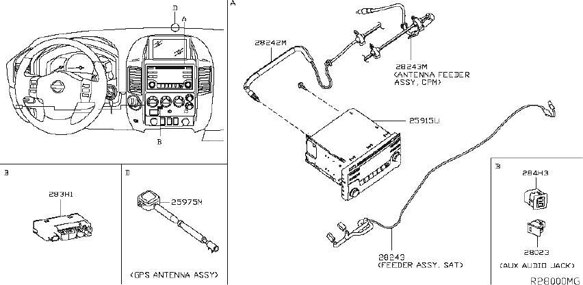 Nissan Titan Audio Auxiliary Jack. UNIT, LWB, ANTENNA