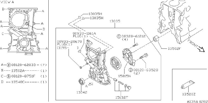 Nissan Sentra Engine Oil Pump (Front). FITTING, COVER