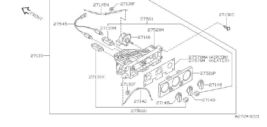Nissan Sentra Hvac blower motor housing clip. Unit, heater