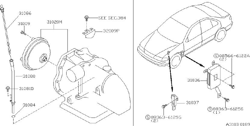 Nissan Sentra Pipe Oil Charging. TRANSMISSION, FITTING