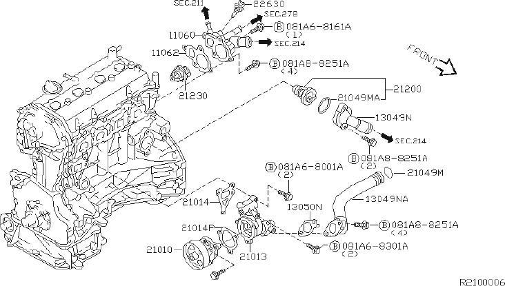 Nissan Sentra Engine Coolant Thermostat Housing Gasket