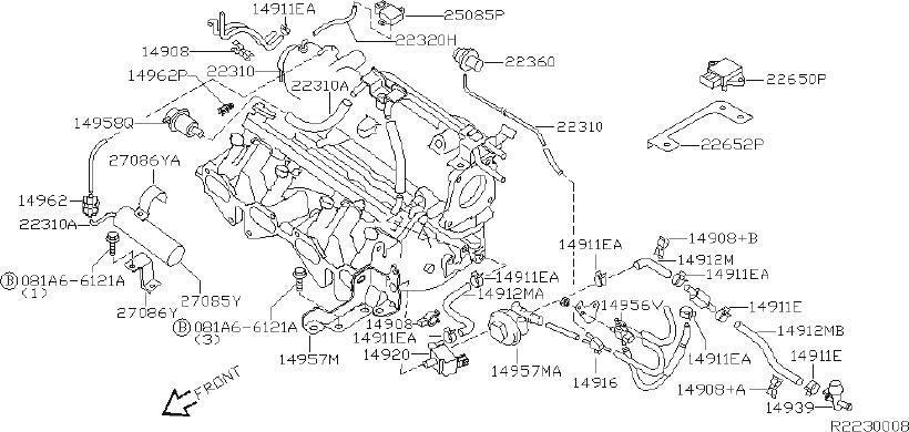 Nissan Sentra Hose Evaporator CONTOUR. Hose Fuel