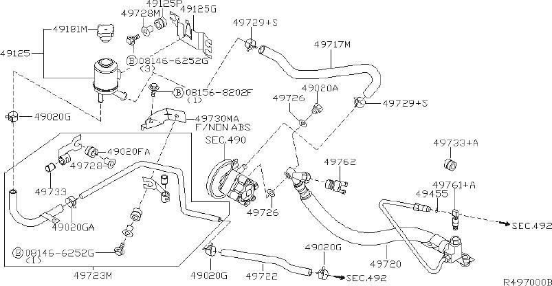 Nissan Sentra Power Steering Pressure Hose. Suspension