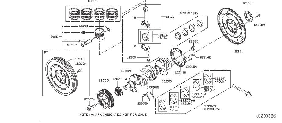 Nissan Sentra Engine Crankshaft Pulley. SELECT, BEARING