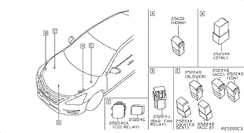 Nissan Sentra Relay Ignition. RELAYS, RAD, PTC, MTR