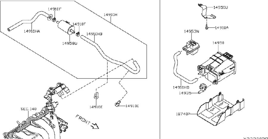 Nissan Sentra Vapor Canister Bolt. INTAKE, EXHAUST, SYSTEM