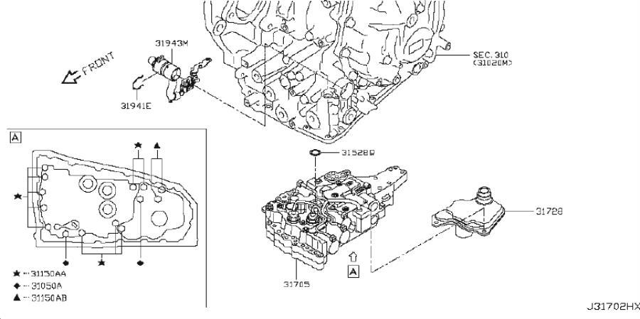 Nissan Sentra Transmission Filter. CVT, MCVT, VALVE