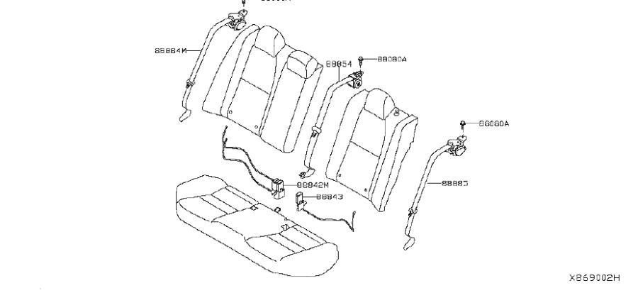 Nissan Sentra Belt Seat Buckle. (Right, Rear). Trim