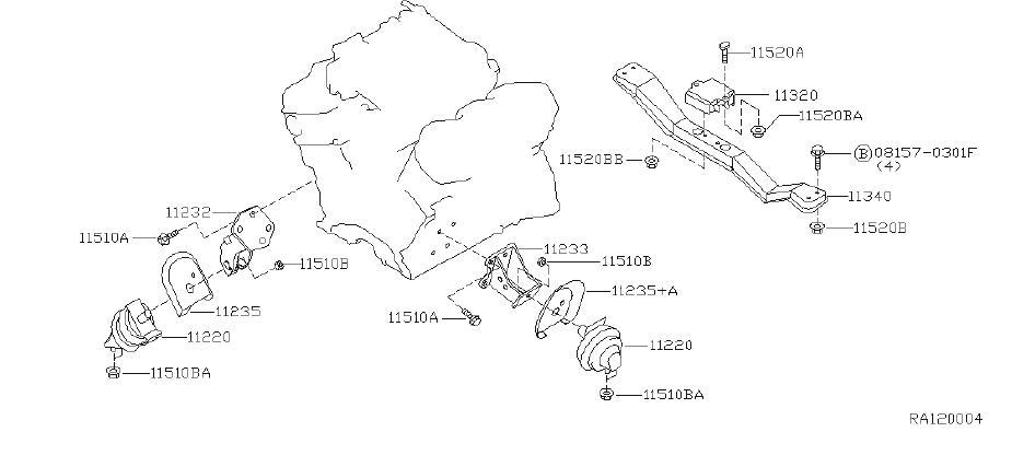 Nissan Frontier Transmission Crossmember (Rear). ENGINE