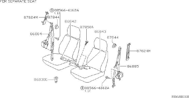 Nissan Frontier Seat Belt Receptacle (Left, Front