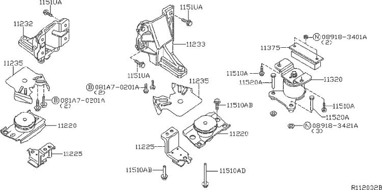 Nissan Frontier Manual Transmission Mount (Rear). ENGINE