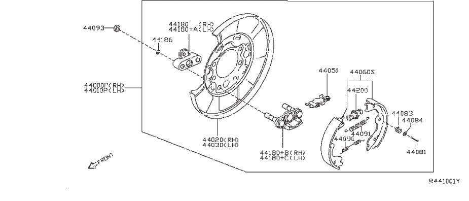 Nissan Frontier Disc Brake Caliper Pin. REAR, PARKING