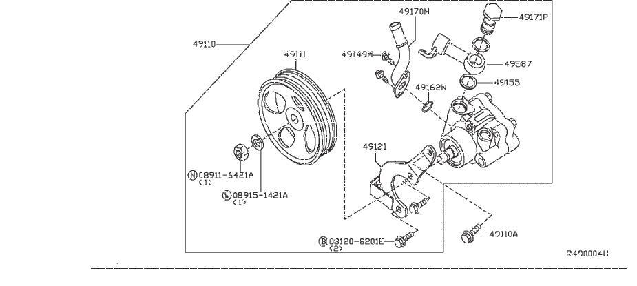 Nissan Frontier Connector Power Steering Pump. Service
