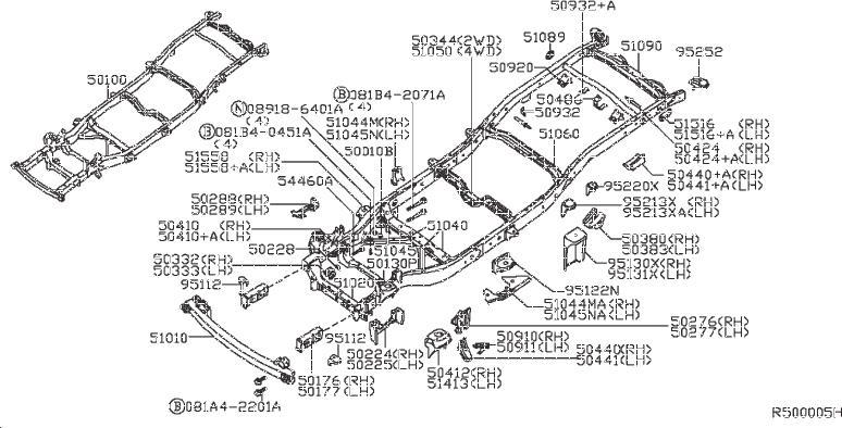 Nissan Frontier Frame Rail Bracket (Right, Front, Rear