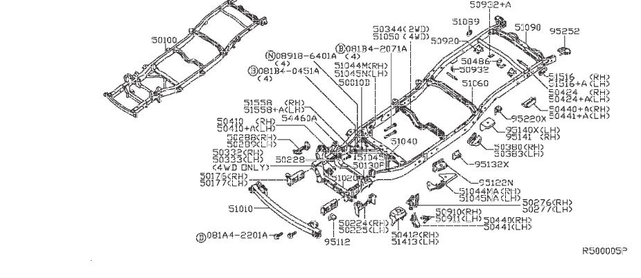 Nissan Frontier Frame Rail Bracket. UNDER, COVER, ASSY