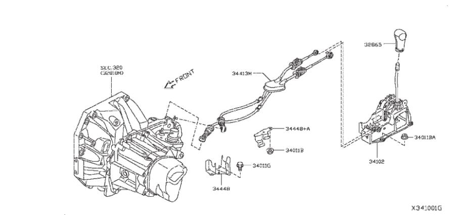 Nissan Versa Note Manual Transmission Shift Knob. CONTROL