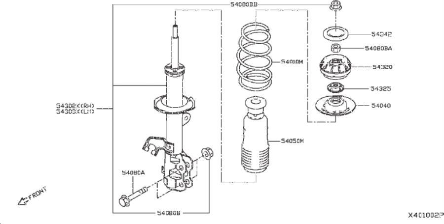 Nissan Versa Note Engine Cradle Bolt. MEMBER, STRUT, FRONT