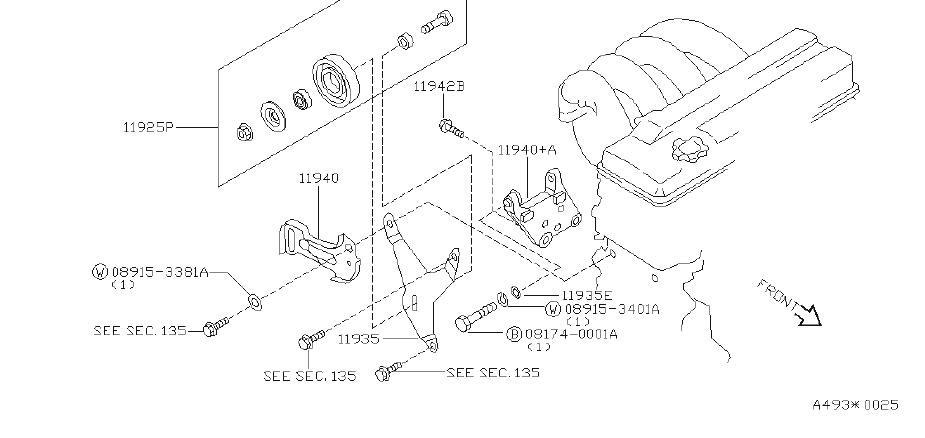 Nissan Altima Power Steering Pump Bracket. Suspension