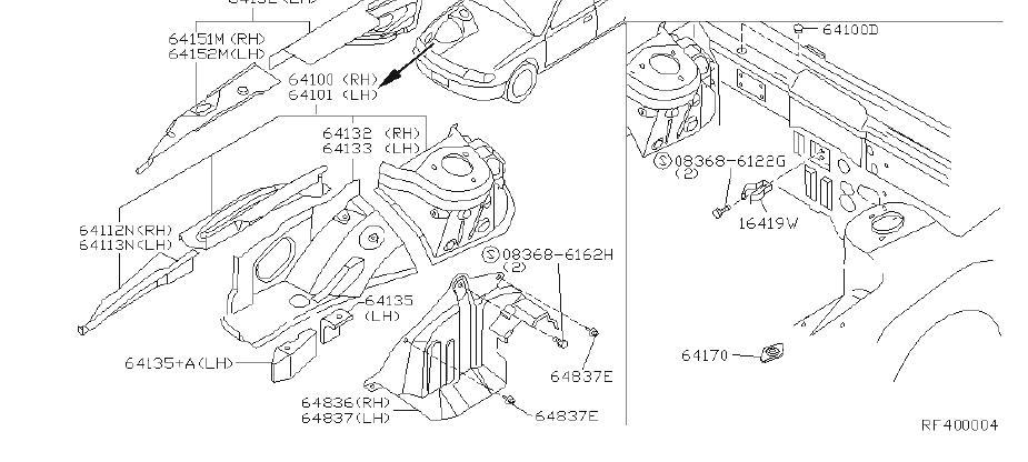 Nissan Altima Fuel Filter Bracket. HOOD, FITTING, LEDGE