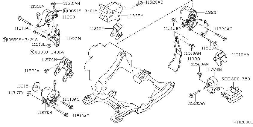 Nissan Altima Engine Mount (Rear). TRANSMISSION, MOUNTING