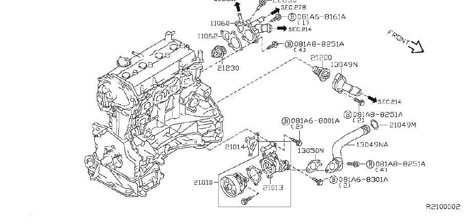 Nissan Altima Engine Coolant Thermostat Housing. COOLING