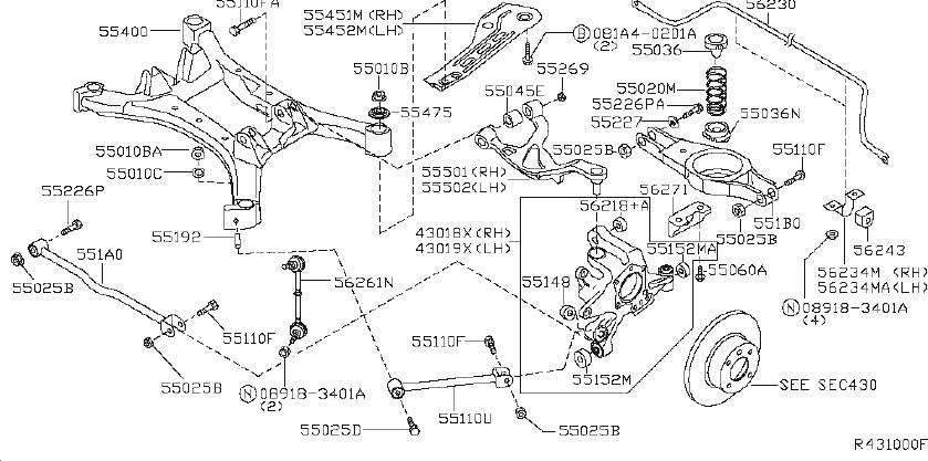 Nissan Maxima Suspension Subframe Crossmember (Rear