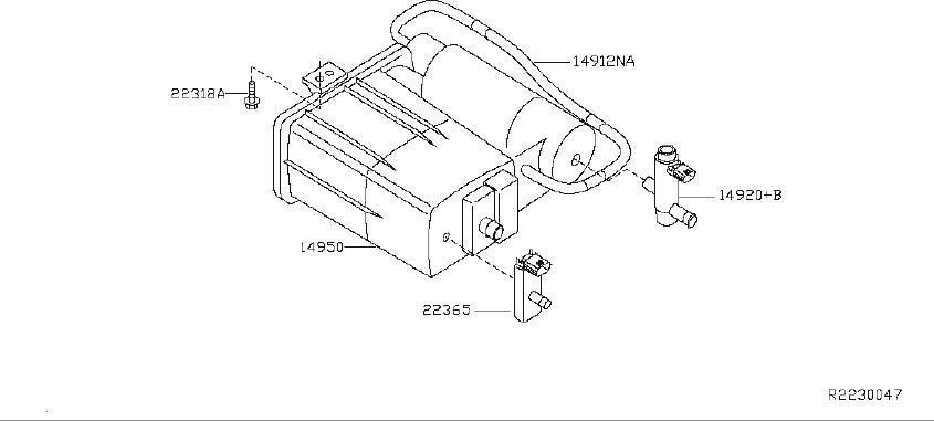 Nissan Altima Vapor Canister Filter. REAR, FRONT, Fuel