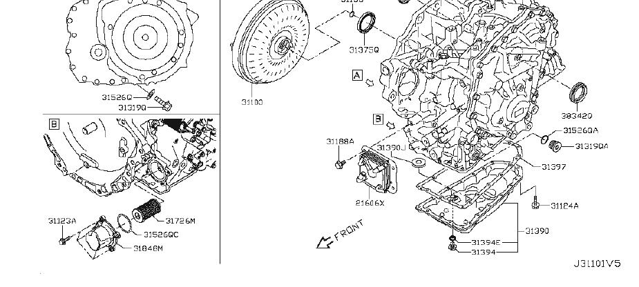 Nissan Altima Seal Oil, Differential Converter Housing