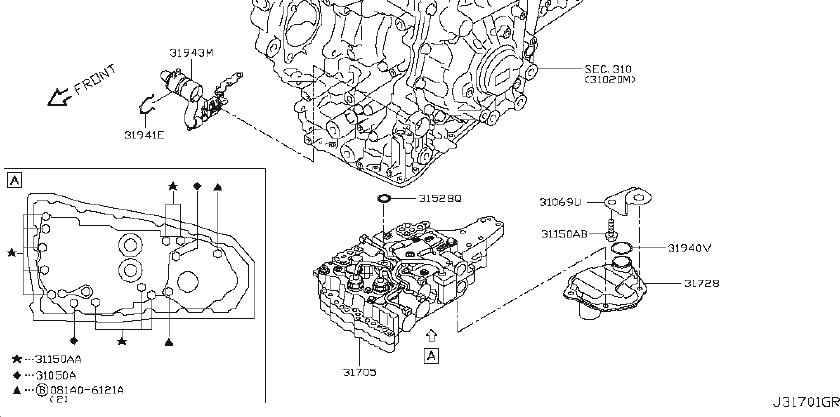 Nissan Altima Automatic Transmission Filter O-Ring. CVT