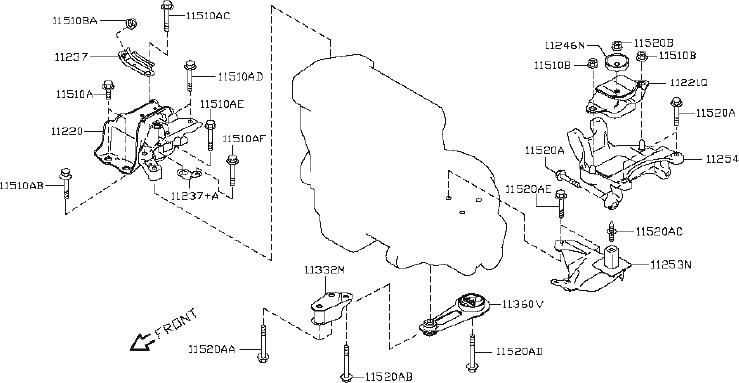 Nissan Versa Manual Transmission Mount Insulator. ENGINE