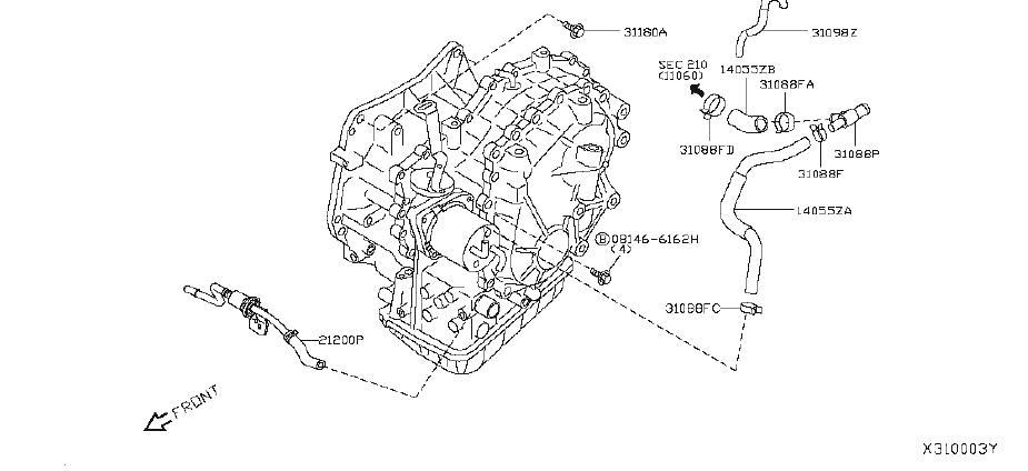 Nissan Versa Engine Coolant Hose. FITTING, ASSEMBLY