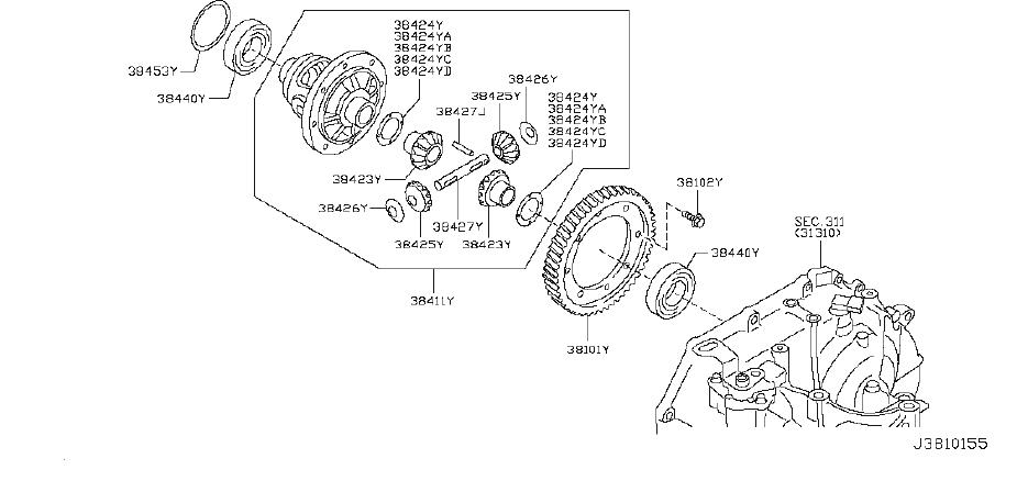 Datsun 310GX Automatic Transmission Differential Carrier