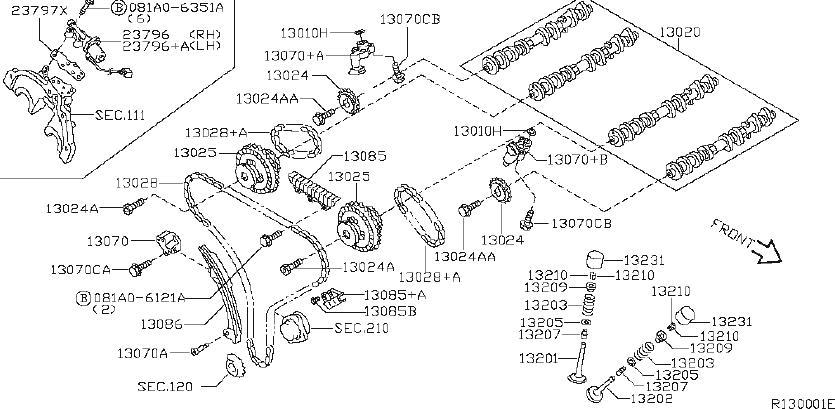 Nissan Xterra Engine Intake Valve. CAMSHAFT, MECHANISM